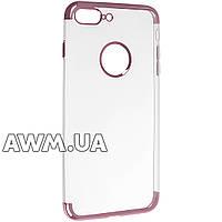 Чехол накладка силиконовый прозрачный для Apple iPhone 7 Plus розовый