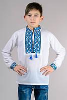 Вышиванка на мальчика с синим орнаментом р-32-42