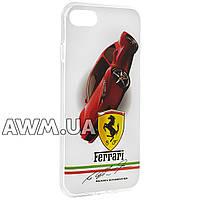 Чехол накладка силиконовая Ferrari  для Apple iPhone 7 белый