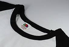 Мужская Футболка c Цветными Рукавами Fruit of the loom Белый/Чёрный 61-026-Th L, фото 2