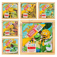 """Деревянная игрушка """"Пчелка Майя"""", 6 видов, 9 кубиков, в кор. 12,5*12,5*3,5 см (48 шт.)(GT6288)"""