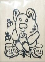 "Заготовка ""Мишка с медом"" на магните с контурами рисунка, бук, 6см*9см, произ-во Украина(171813)"