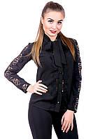 Блуза с кружевом черный