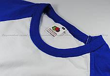 Мужская Футболка c Цветными Рукавами Fruit of the loom Белый/Ярко-Синий 61-026-Aw M, фото 3