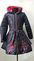 """Утепленное пальто """"Орнамент"""" цвет  темно-синий +корал для девочек от 4 до 7лет( 104-128р)"""