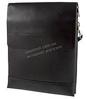 Вместительная черная мужская сумка с качественной кожи PU POLO art. 9880-5 черная