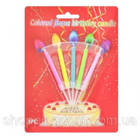 Свечи для торта с цветным пламенем (5шт), на планш. 17*13см (400шт.)(D11153) - ШоппингДом в Днепре