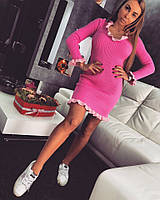 Платье Doratti облегающее мини вязка хлопок с акрилом разные цвета SMdor1214