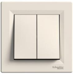 Schneider Asfora Выключатель 2-клавишный кремовый