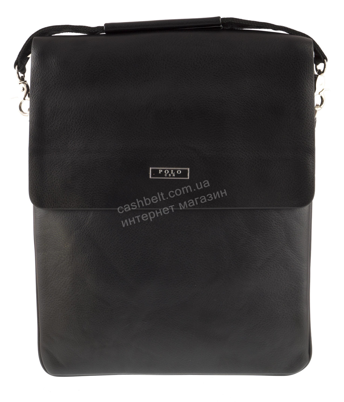Вместительная черная мужская сумка с качественной кожи PU POLO art. 86686-5 черная