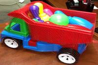 """Машина  """"Алексбамс """", мал. с 6 кеглями и 1 шаром, в сетке 38*25см, ТМ BAMSIC, пр-во Украина (3шт/уп)(084)"""