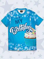 Детская футболка My Birthday (Мой день рождение) с ярким 3D принтом/рисунком из легкой ткани на лето.