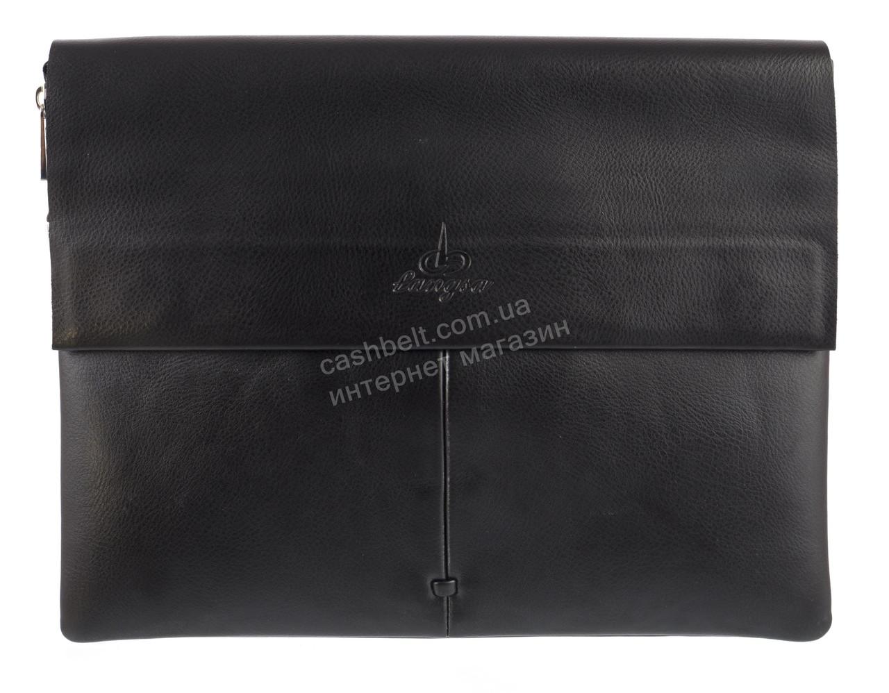 Вместительная черная горизонтальная мужская сумка с качественной PU кожи LANGSA art. 888-6 черная