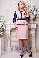 Платье с баской и гипюром Нарни 48,50,52,54р