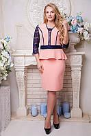 Платье с баской и гипюром Нарни 48,50,52,54р, фото 1