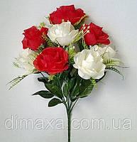 Букет искусственных цветов Роза имитация натурального бутона микс цветов , 46 см, фото 1