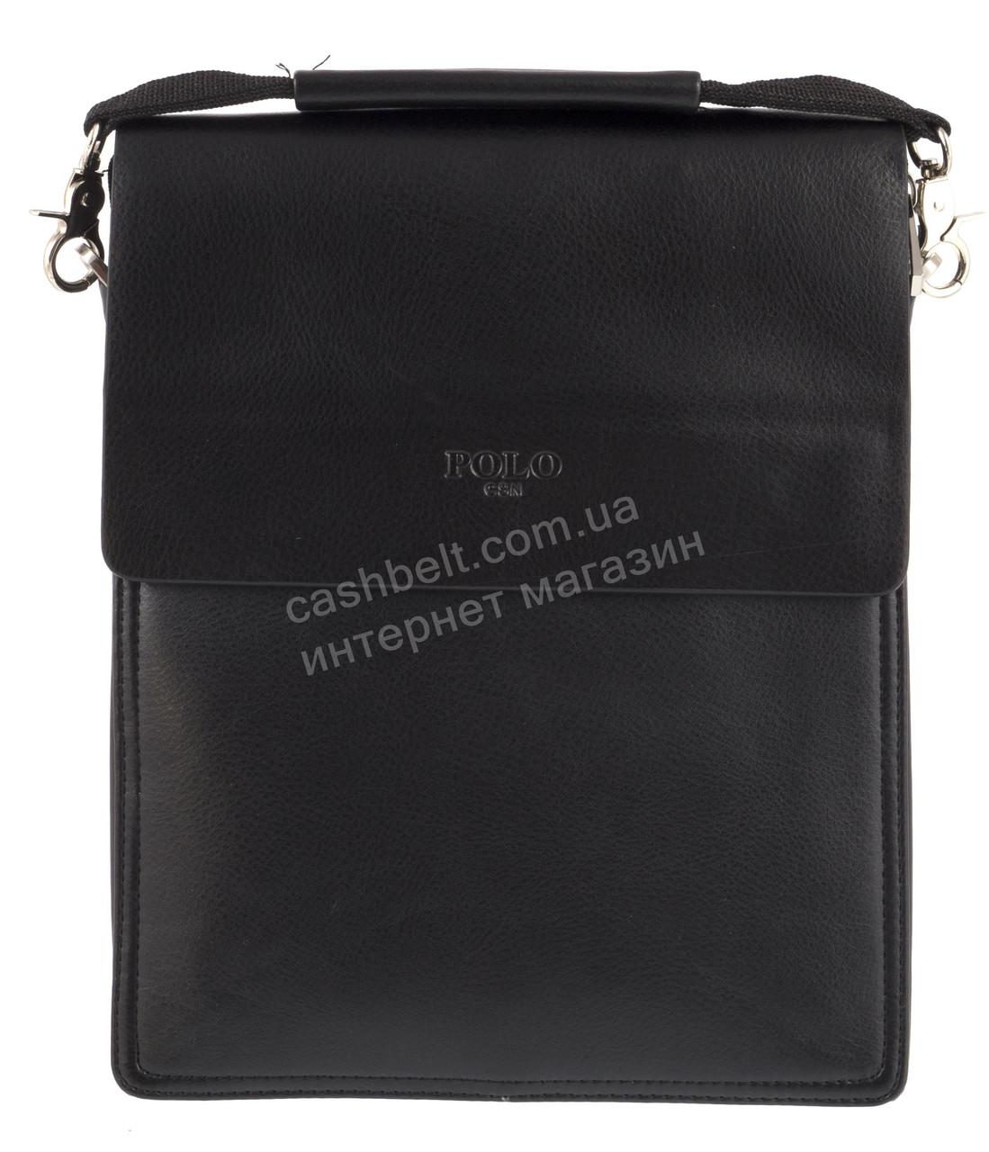 Зручна чорна міцна чоловіча сумка з якісної шкіри PU POLO art. TP88840-3 чорна