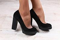 Туфли женские, из натуральной замши, черные, на толстом устойчивом каблуке, на модной подошве BJORK