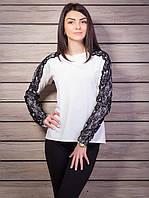 Нарядная кофта женская трикотаж рукав гипюр p.44-48 цвет белый VM1832-1