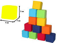 """Мякиш-кубик """"Цветные"""", 12 кубиков, в сумке 29*21*9см, произ-во Украина(720347)"""