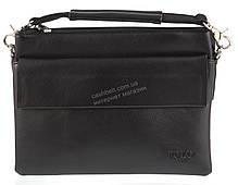 Удобная компактная черная прочная мужская сумка с качественной PU кожи POLO art. T9603-2 черная