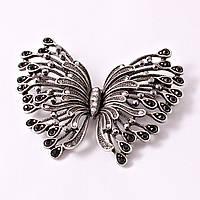 "Брошка в сером металле с камнями ""Grey butterfly"""