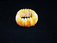 Браслет из янтарной смолы, зубчики, желтый с разводами