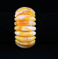 Браслет из янтарной смолы, зубчики, желтый с разводами, фото 1