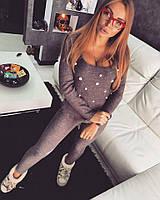 Костюм Doratti свитер с жемчугом и лосины пряжа шерсть с мохером 3 цвета Ddor322