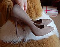 Классические туфли-лодочки замшевые на шпильке капучино