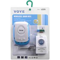 Дверной звонок беспроводной VOYE V009A AC: 2 Вт, питание сеть 220В/батарейка 12В, радиус 100 м