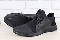 Мужские кроссовки, черные, из натуральной кожи, с замшевыми вставками черного цвета, с резинкой спереди