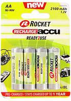 Батарейки аккумуляторы Rocket R6 AA (2100 mAh), 4 шт. в упаковке