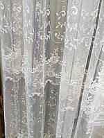 Тюль вышивка Хатэм цветок меланж 10.02.2017, Цвета:  молоко. молоко с бежевым, белый