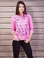 Кофта женская с принтом p.42-48 цвет розовый VM1862-3