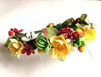 Обруч веночек ручной работы, желтые весенние цветы