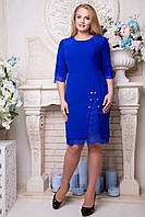 Платье синее с кружевом Гордони 50,52,54,56р