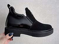 Ботинки женские черные из натуральной замши/кожи  Занотти