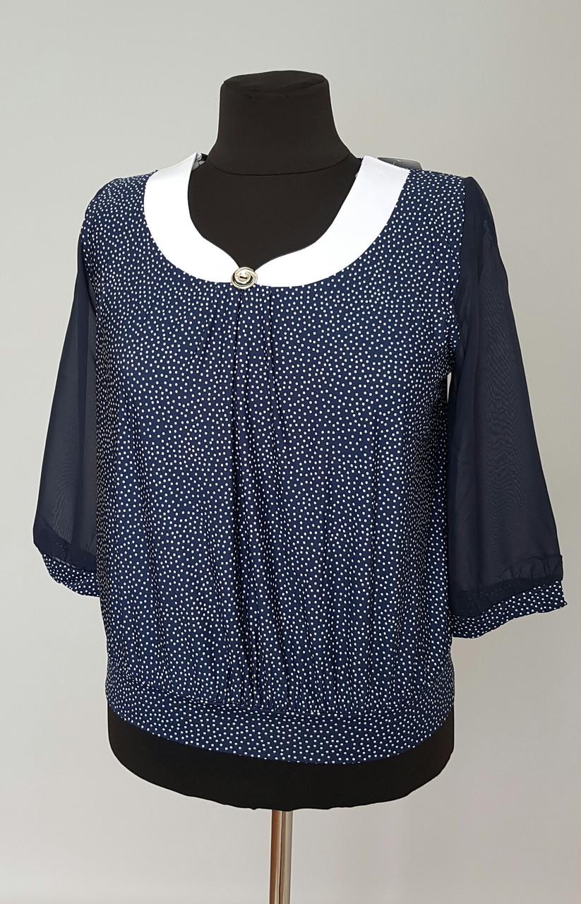 Блуза женская в мелкий горошек большого размера