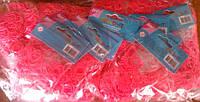 Резиночки для плетения (600 рез.), розовые, крючек, в пак. 17*8см(6200/0855)