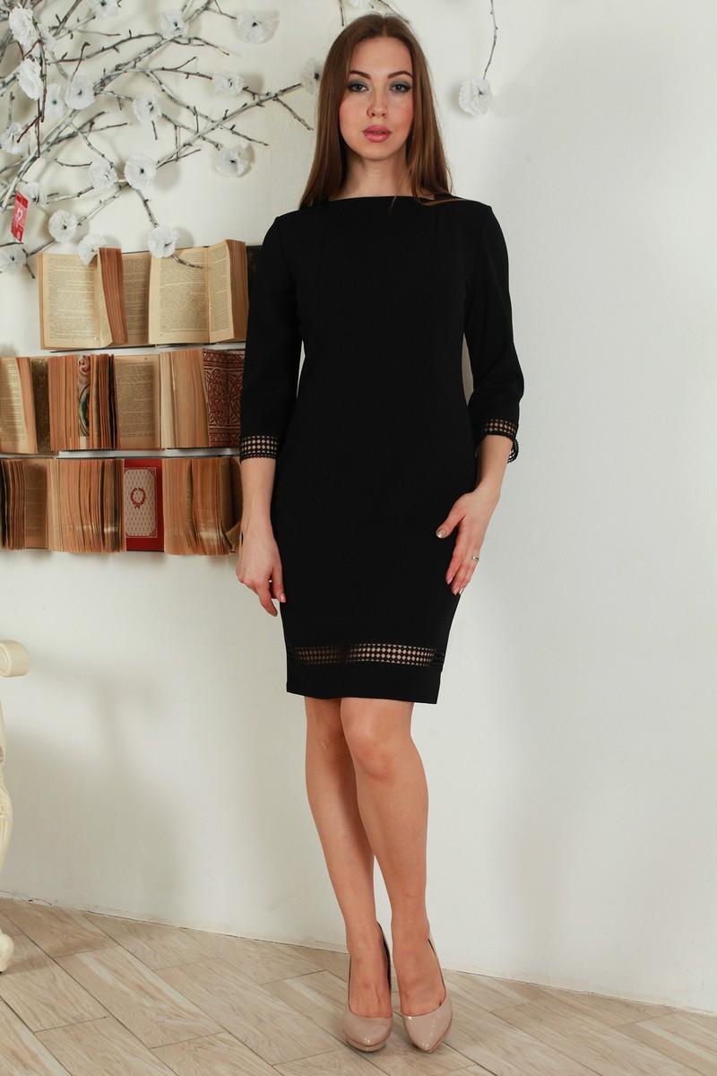 86415be9a23 Черное прямое платье с ажурной вставкой