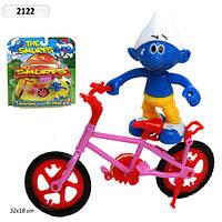 """Герои """"Смурфики"""" герой, велосипед, с аксесс., на планшете 25*27см (120шт/2)(2122)"""