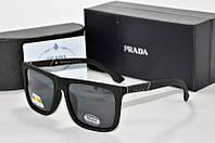 Солнцезащитные очки прямоугольные Prada черные матовые, фото 1
