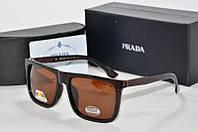 Солнцезащитные очки прямоугольные Prada коричневые, фото 1