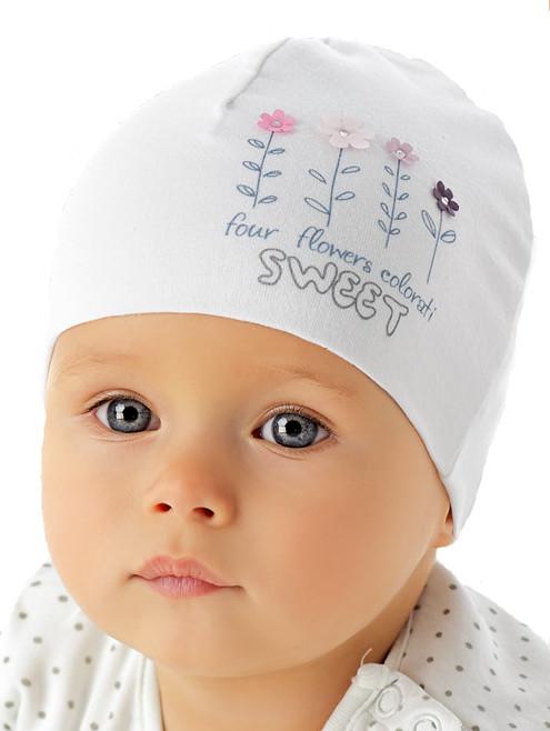 Белая шапочка для девочки лапули от Marika Польша