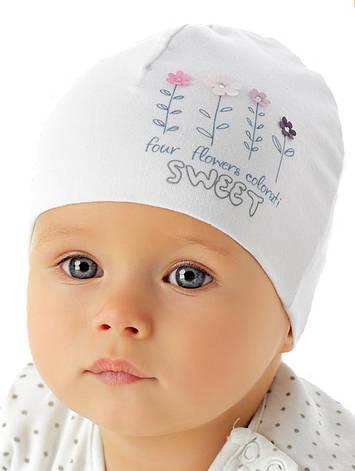 Белая шапочка для девочки лапули от Marika Польша, фото 2