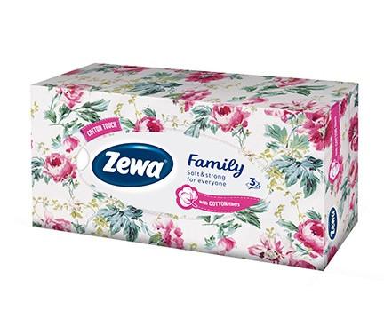 Салфетки Zewa Family в коробке, 90 шт.