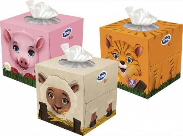 Салфетки Zewa Zoo Cube в коробке, 60 шт., в ассортименте