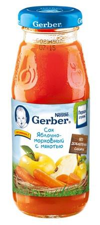 Сок Gerber яблочно-морковный, 175 мл