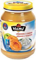 Пюре Hame яблоко и абрикос с творогом, 190 г